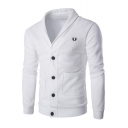 Fashion Wheat Logo Embroidery V-Neck Long Sleeve Button Down Fitted Cardigan