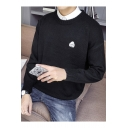 Cartoon Animals Pattern Round Neck Long Sleeve Mens Casual Pullover Sweater