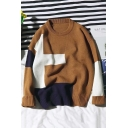 New Stylish Color Block Crewneck Long Sleeve Slim Fit Sweater for Guys
