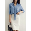 Womens Fashion Simple Plain Tied Collar Long Sleeve Chiffon Blouse