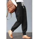 Leisure Simple Plain Multiple Pockets Drawstring Elastic Waist Loose Cotton Pants