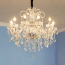 Traditional Chrome Chandelier with Candle 10 Lights Clear Crystal Hanging Chandelier