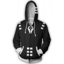 Soul Eater 3D Skull Printed Cosplay Costume Sport Casual Black Zip Up Hoodie