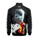 Popular American Rapper Figure Print Simple Cool Letter REVENGE Stand Collar Zip Up Black Jacket