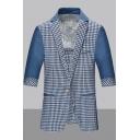 Stylish Plaid Print Half Sleeve Single Button Notch Lapel Collar Mens Blue Blazer Jacket