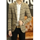Trendy Check Print Notched Lapel Single Button Long Sleeves Fitted Mens Blazer Coat