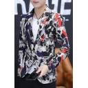 Fashionable Camouflage Graffiti Print Long Sleeve Notched Lapel Collar Single Button Fitted Suit Blazers