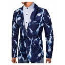 Trendy Lightning Feather Printed Long Sleeve Notched Lapel Collar Single Button Mens Suit Blazer