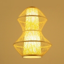 Cone Suspension with Geometric Rattan Shade Modernism Single Head Indoor Lighting Fixture in Wood