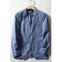 Mens Fashion Long Sleeve Double Button Notched Lapel Collar Blue Suit Blazer Sport Coat
