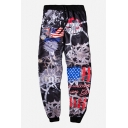 Stylish 3D Machinery Letter Flag Print Drawstring Waist Leisure Sports Pants Sweatpants