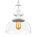 Bowl Shade Ceiling Pendant Lamp with Clear/Blue Glass Modern Chic 1 Head Suspension Light