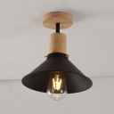 Metal Flared Ceiling Light 1 Light Rustic Vintage Semi Flush Light in Wood