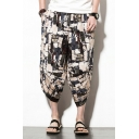 Summer Chinese Style Retro Printed Drawstring-Waist Loose Beach Cropped Bloomers Harem Pants for Men
