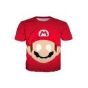 New Stylish Game Comic Figure Pattern Short Sleeve Red T-Shirt