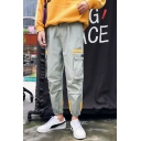New Fashion Color Block Elasticized-Cuff Loose Fit Cotton Cargo Pants for Men