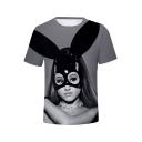 Popular American Singer Bunny Girl 3D Printed Short Sleeve Grey T-Shirt