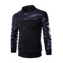 Mens New Stylish Stand-Collar Long Sleeve PU Patched Button Down Fitted Jacket