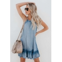Fashionable Halter Sleeveless Ruffle Hem Light Blue Mini A-line Denim Dress