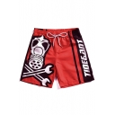 New Stylish Letter Tool Printed Quick-Drying Drawstring Waist Unisex Beach Red Swim Shorts