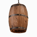 Bronze Cask Suspended Pendant Lamps Length Adjustable 1 Light Industrial Wood Hanging Lighting for Dining Room