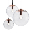 Glass Globe LED Hanging Lamp Height Adjustable Single Light Industrial Ceiling Light Fixture in Rose Gold