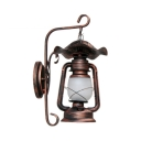 Antique Kerosene Wall Sconce Restaurant Hallway Single Light Wall Lantern in Rust