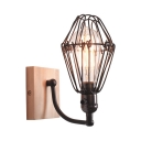 Vintage Black Wall Light with Cage Single Light Metal Wall Sconce for Dining Room Kitchen
