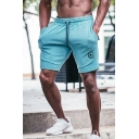 Mens Trendy Figure Pattern Drawstring-Waist Breathable Fast Drying Cotton Athletic Sweat Shorts