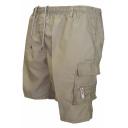 Unique Cool Plain Zipper Patched Drawstring Elastic Waist Men's Summer Cotton Loose Cargo Shorts