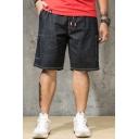 Mens Drawstring Waist Simple Plain Flap Pocket Side Black Loose Fit Denim Shorts
