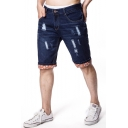 Mens New Trendy Destroyed Ripped Straight Fit Dark Blue Denim Shorts