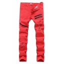Men's Fashion Plain Zipper Embellished Distressed Ripped Slim Fit Shredded Jeans