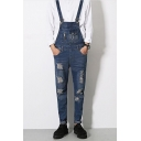 Men's New Trendy Zip Pockets Patched Rolled Cuff Slim Fit Dark Blue Ripped Overall Jeans