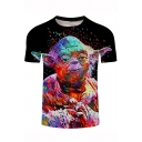 Character Colorful Painting Short Sleeve Basic Black T-Shirt