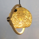 Fish Shape Hanging Light with Rattan Ball Shade 1/2/3 Heads Rustic Pendant Lighting