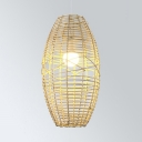 Asian Beige/Coffee Pendant Lighting with Oval Shade 1 Light Woven Suspended Light