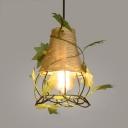 Vintage Gourd/Globe Pendant Light Foyer Metal and Rope Beige Pendant Lamp