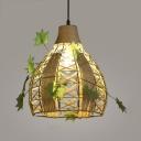 Basket Living Room Sconce Light Single Light Metal and Rope Hanging Light in Beige