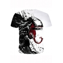 Stylish 3D Printed Short Sleeve Round Neck White T-Shirt