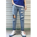 Guys Popular Cool Distressed Ripped Blue Slim Fit Denim Jeans with Hole