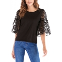 Hot Fashion Lace-Up Embroidery Floral Flare Sleeve Round Neck Tee
