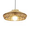 Rustic Barn Shade Ceiling Pendant for Dining Room Rope 1-Light Hanging Lamp in Beige with 47