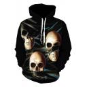 Guys Cool Skull Printed Long Sleeve Loose Casual Black Drawstring Hoodie