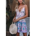 Ethnic Style Retro Floral Printed V-Neck Spaghetti Straps Tied Front Lace Trim Mini A-Line Dress