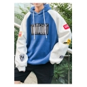 Guys Funny Trendy Letter Badge Printed Long Sleeve Loose Casual Pullover Hoodie