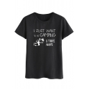 Stylish Landscape Letter I JUST WANT TO GO CAMPING Printed Short Sleeve Round Neck T-Shirt