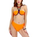 Fashion Tribal Printed Sleeveless Orange High Waist Bottom Bikini Swimwear