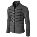 Men's Vintage Stand Collar Long Sleeve Embroidery Double Breasted Plain Jacket