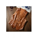 Men's New Fashion Solid Color V-Neck Button Closure Fitted PU Leather Vest